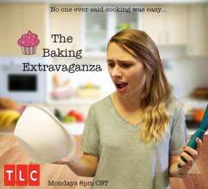 Fictional TV poster created in Com Arts 155 that shows a woman looking flustered with a bowl and whisk in her hand