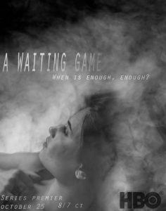 Fictional TV poster with a woman staring off into the distance surrounded by smoke