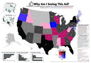 Map of the United States that compares candidate spending on facebook ads, 1 year before the presidential election