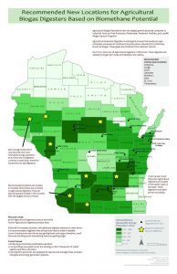 Map of Wisconsin dipicting recommended new locations for agricultural biogas digesters based on biomethane potential