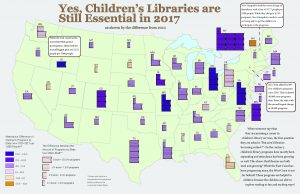 Map depicting children's library programs in the United States
